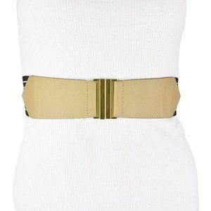 BCBG Black White Beige Stretch Faux Leather Belt